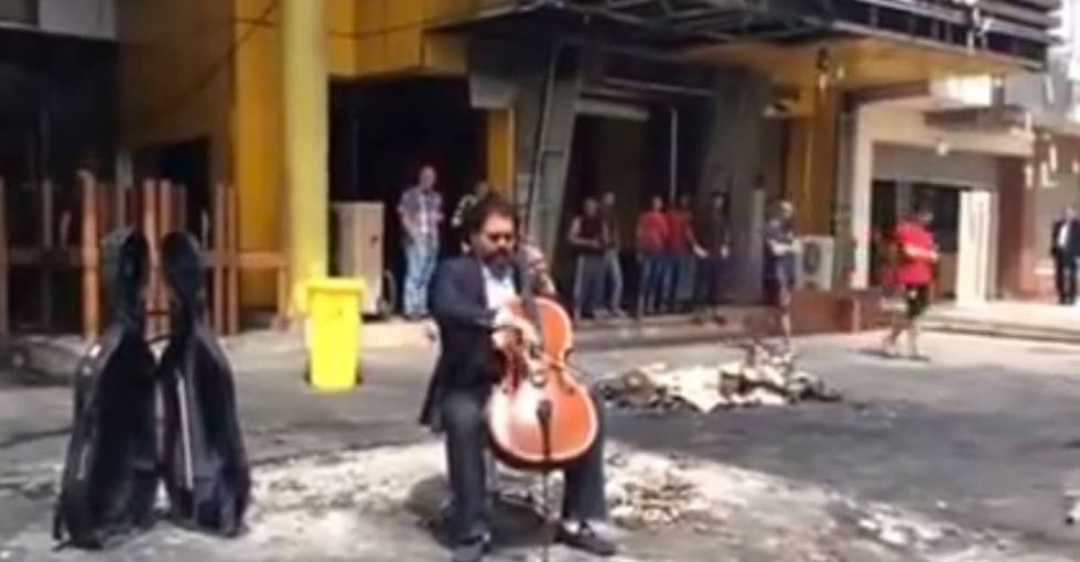Listen to the beautiful music this conductor played after a deadly incident in Baghdad.