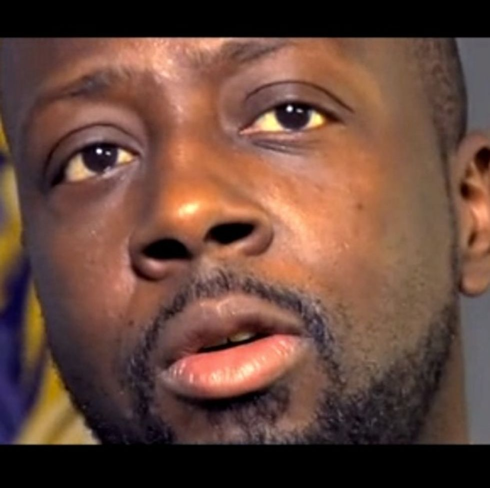 Musician Wyclef Jean makes a reference on needing to use a fist in a way you wouldn't imagine.