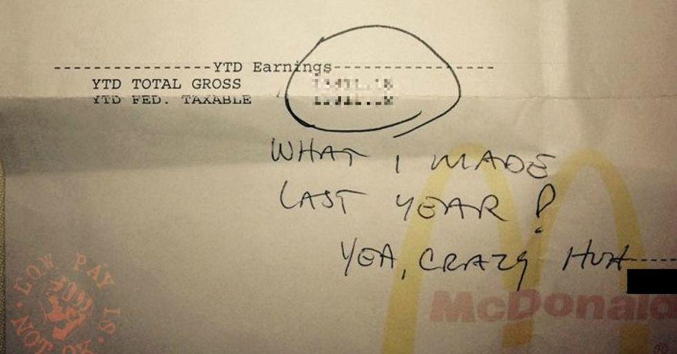 Here's a paycheck for a McDonald's worker. And here's my jaw dropping to the floor.