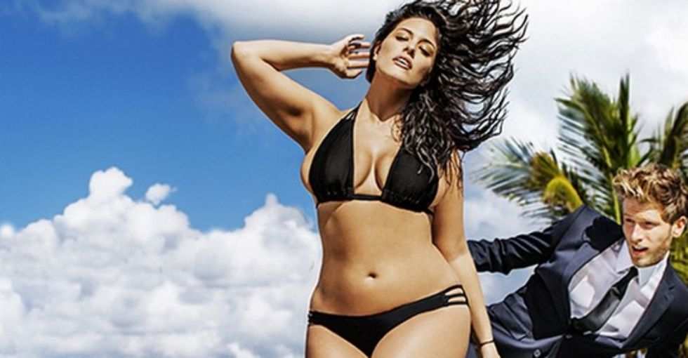 She's not a plus-size model; she's a model. And she's in the Sports Illustrated swimsuit edition.
