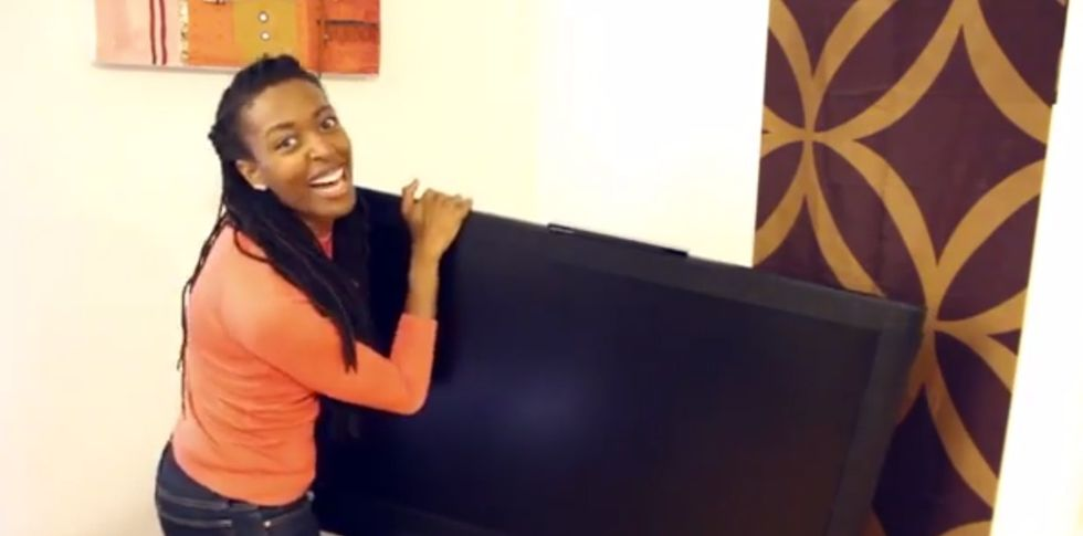 Got A Minute? Watch This Girl Steal Someone's TV For A REALLY Good Reason.
