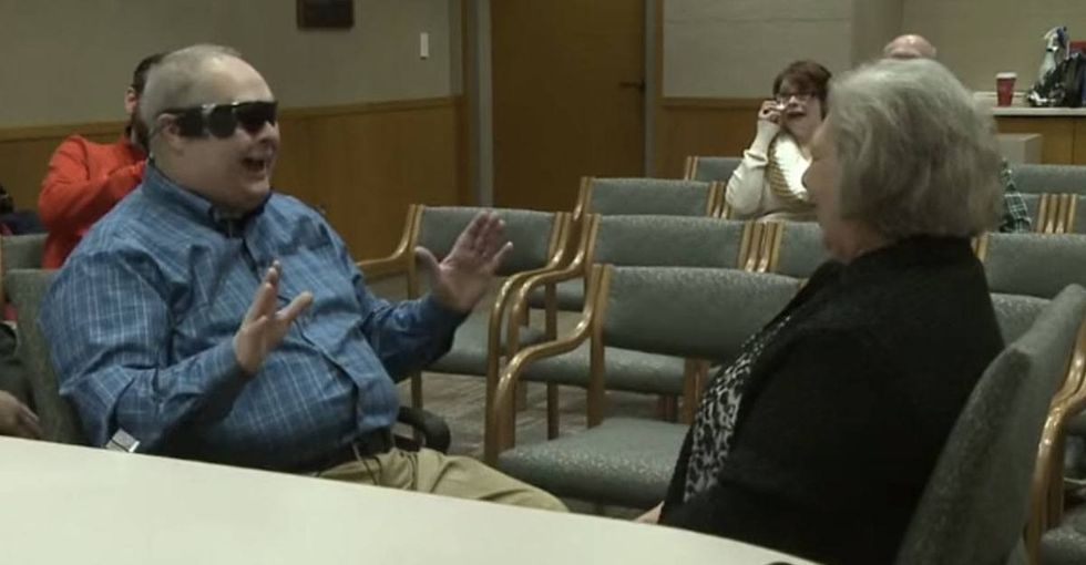 They're in tears before his bionic eye is even turned on. His final reaction is priceless.