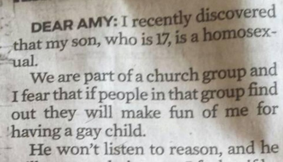 Read The Witty Suggestion An Advice Columnist Gives To A Homophobic Parent