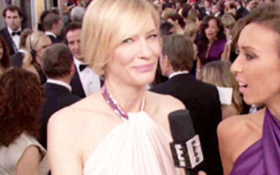 Oh snap! Cate Blanchett asks E! why they filmed her like that but not the men.