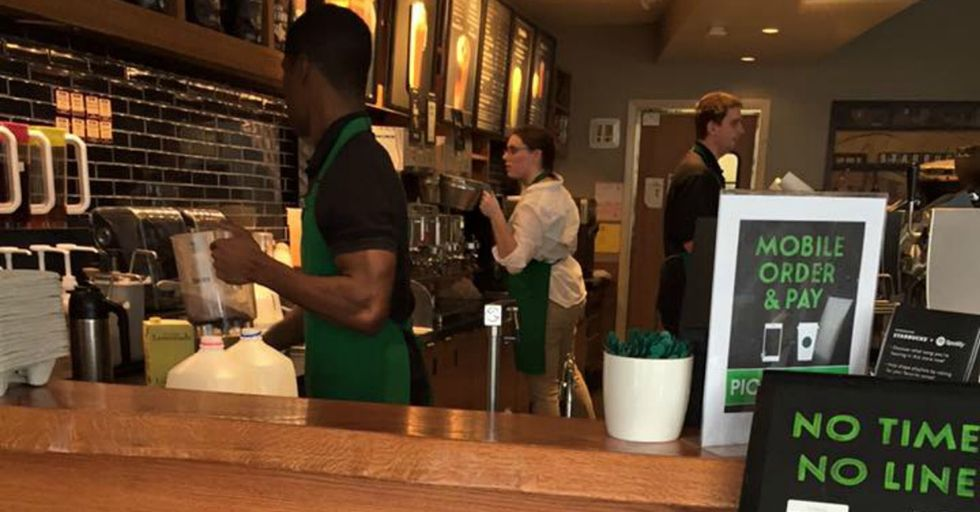 A Starbucks barista gave a note to a deaf man and became a shining example of service.