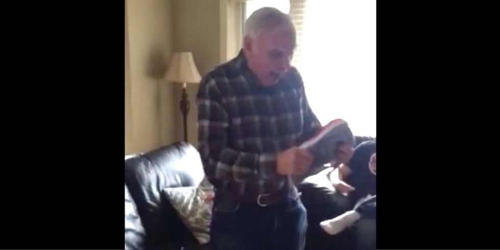 This grandpa freaking out over his new light-up shoes is just what the world needs.