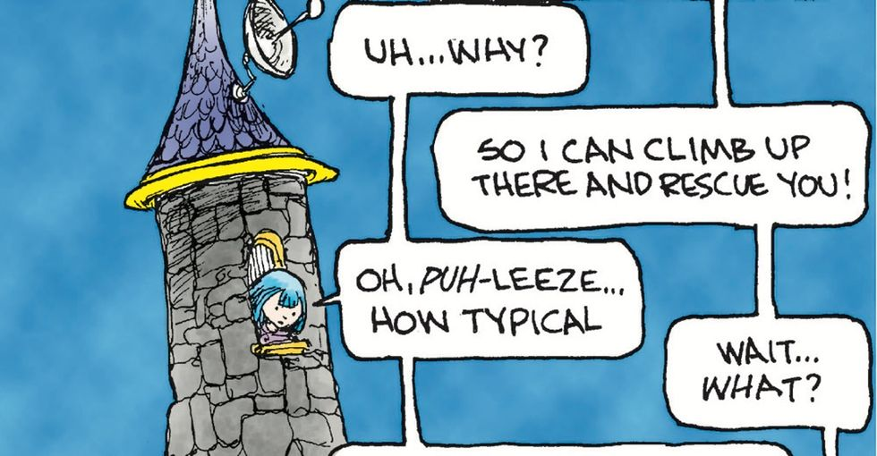 A cartoonist smashes a sexist fairy tale trope in one hilarious swoop.