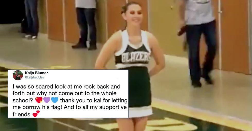 This brave cheerleader just came out to her school in the most magical way.