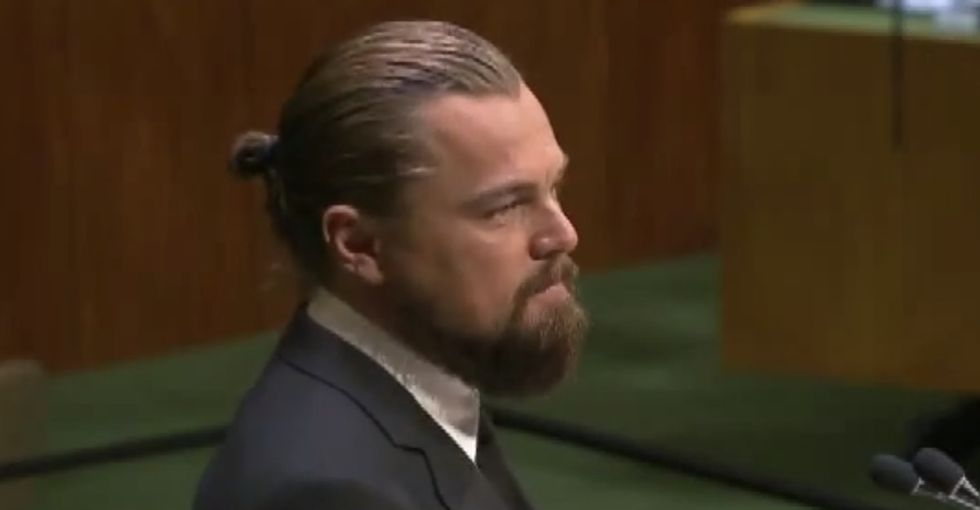 Leo DiCaprio asks everyone in the world to stop pretending that global warming facts don't exist.