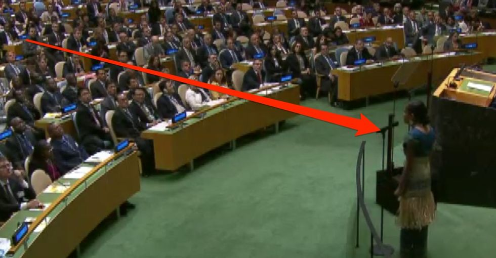 Watch this non-celebrity bring a room full of world leaders to a standing ovation.
