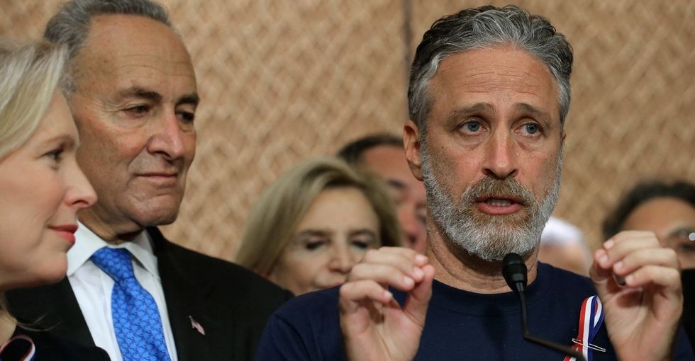 Jon Stewart urges action from Congress in his return to 'The Daily Show.'