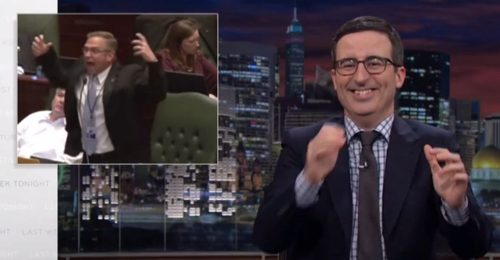 Watch John Oliver Try To Keep A Straight Face And Then Lose It After Witnessing Your Lawmakers Talk