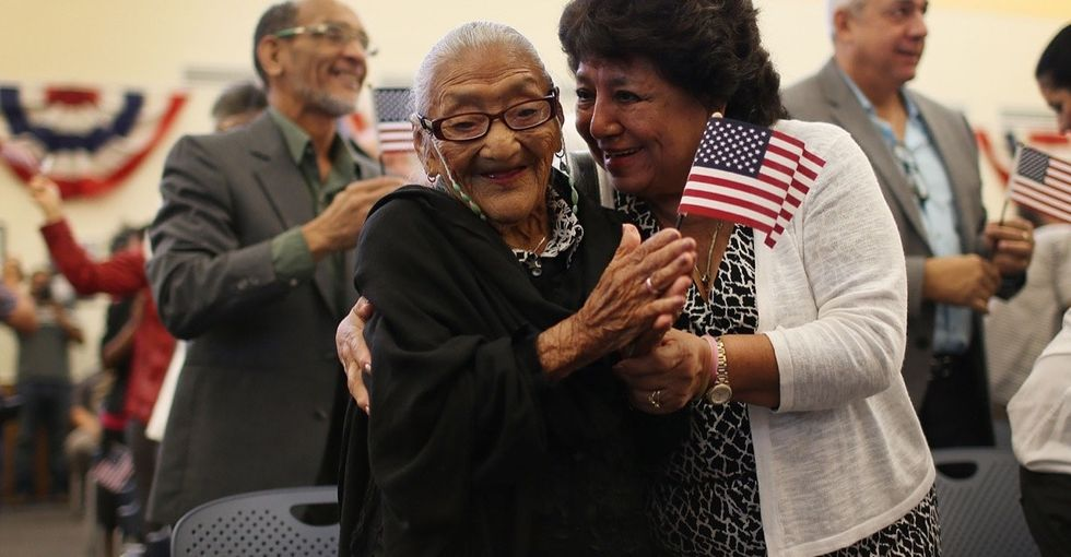 She's one of America's newest citizens — and one of its oldest.