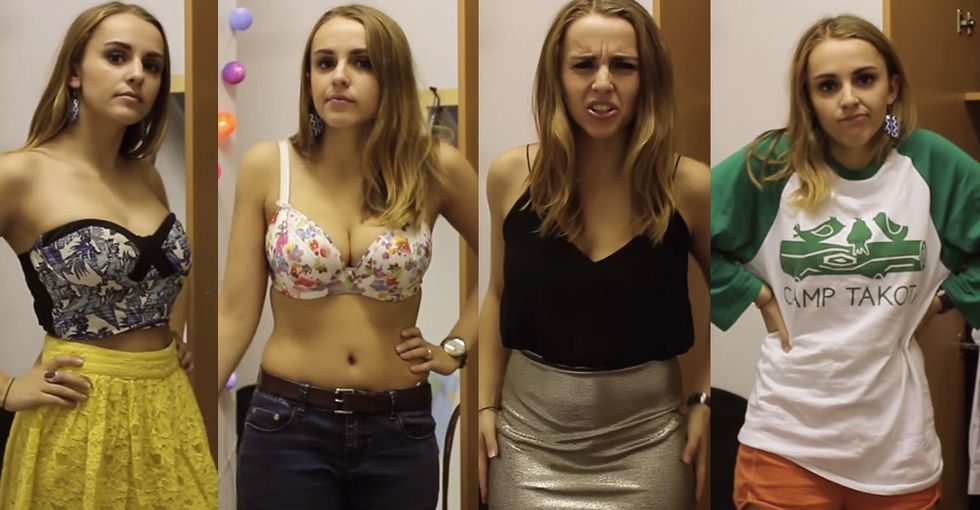 4 very different outfits for 1 disgusting question. But my heart swells when she gets it right.