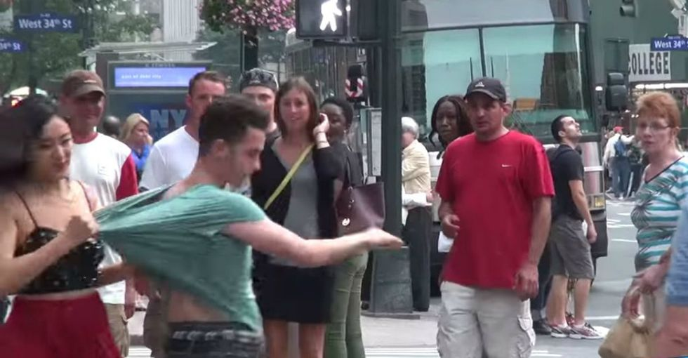 People freak out when he hits her in public. Watch what happens when she hits him.