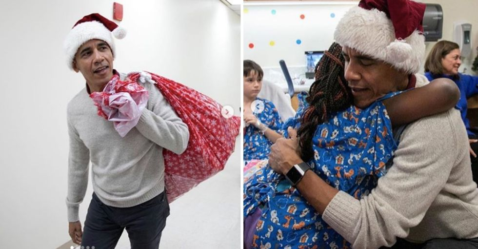 Obama playing Santa at this children's hospital is almost too much goodness to handle.