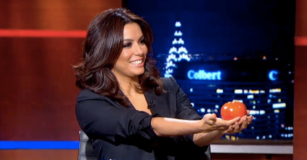Eva Longoria Brings Stephen Colbert A Tomato. I Didn't Expect It To Get As Serious As It Got.