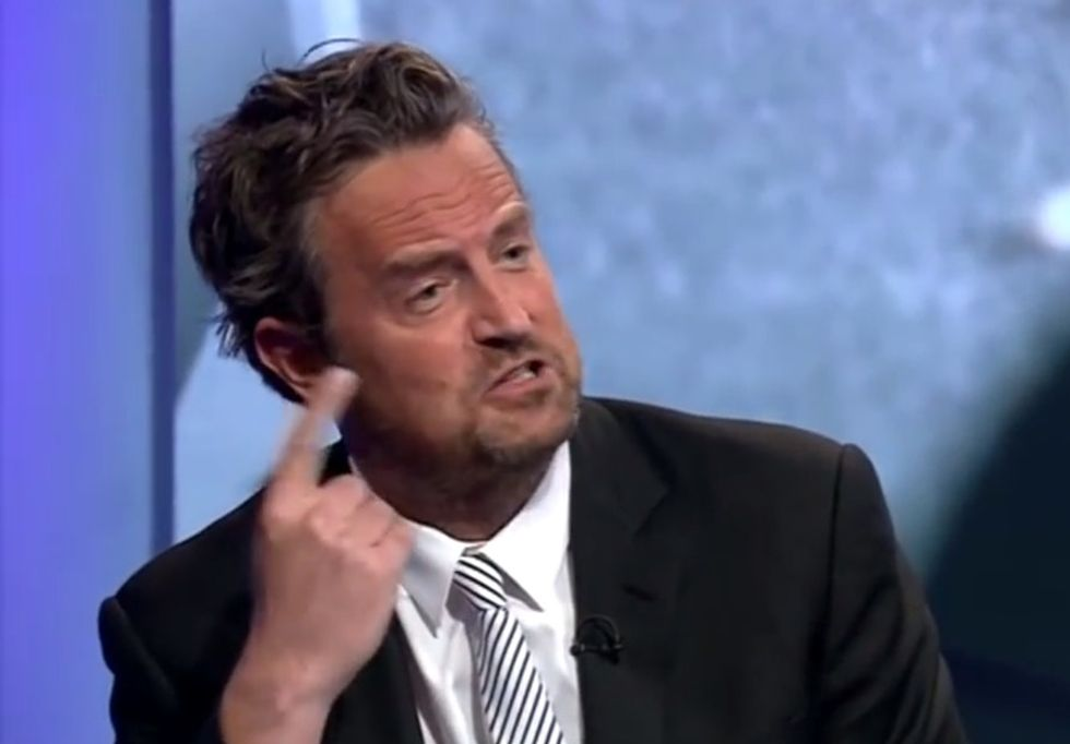 Watch what Matthew Perry says when a dude says his drug addiction is his choice.