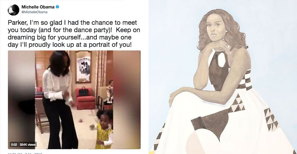 Watch Michelle Obama 'shake it off' with a 2-year-old fan in this adorable video.