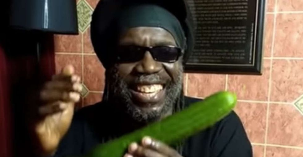Please let me love something one day as much as this reggae singer loves cucumbers.