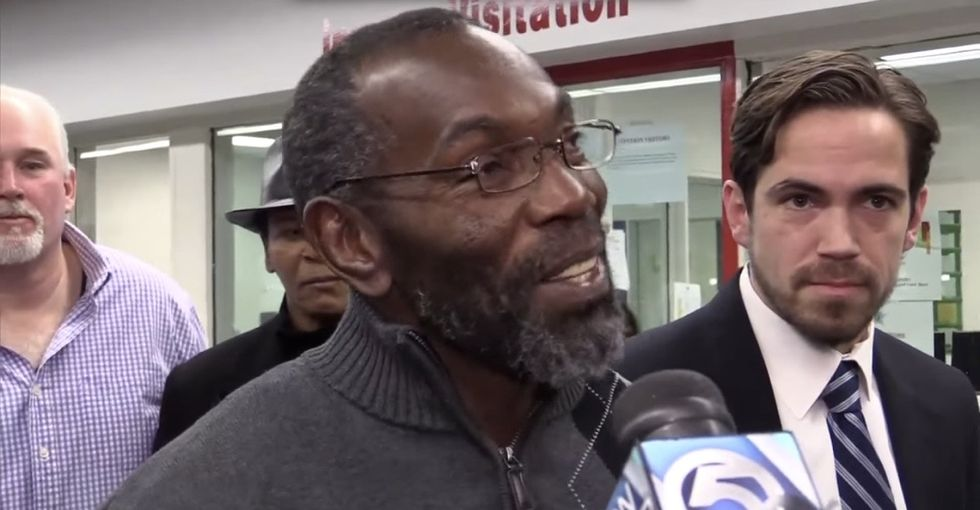 See how a man found innocent of murder reacts after being released from prison after 39 years.