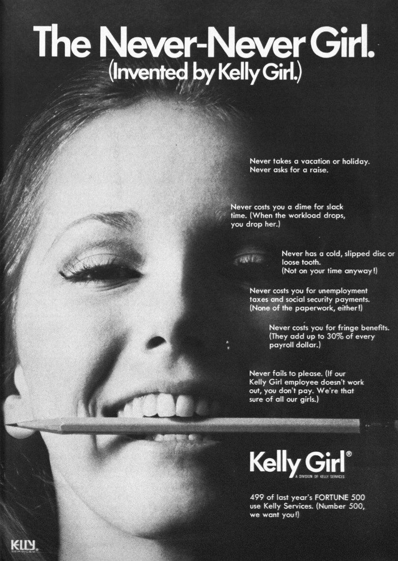 A 40-Year-Old Ad For Temps That's As Sexist As It Is Wildly