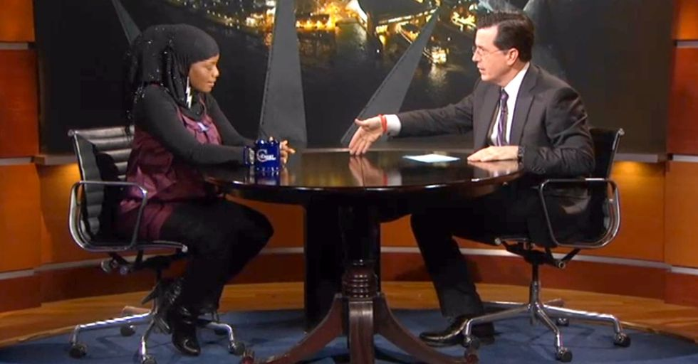 A Woman Interjects When Colbert Comments On Gang Violence And Tells Him The Proper Way To Interrupt