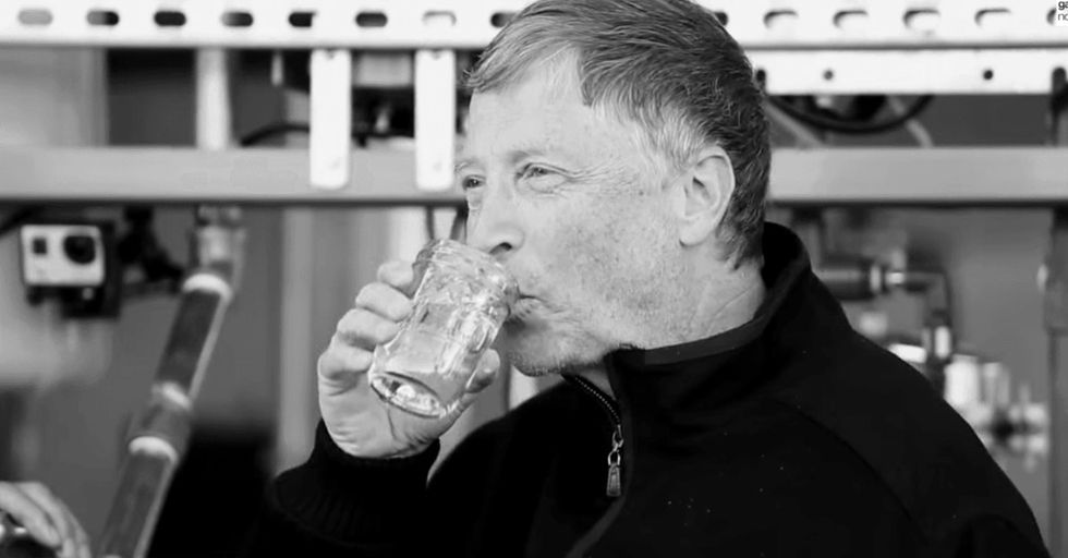 Bill Gates drinks a glass of refreshing water. It wasn't water 5 minutes ago.