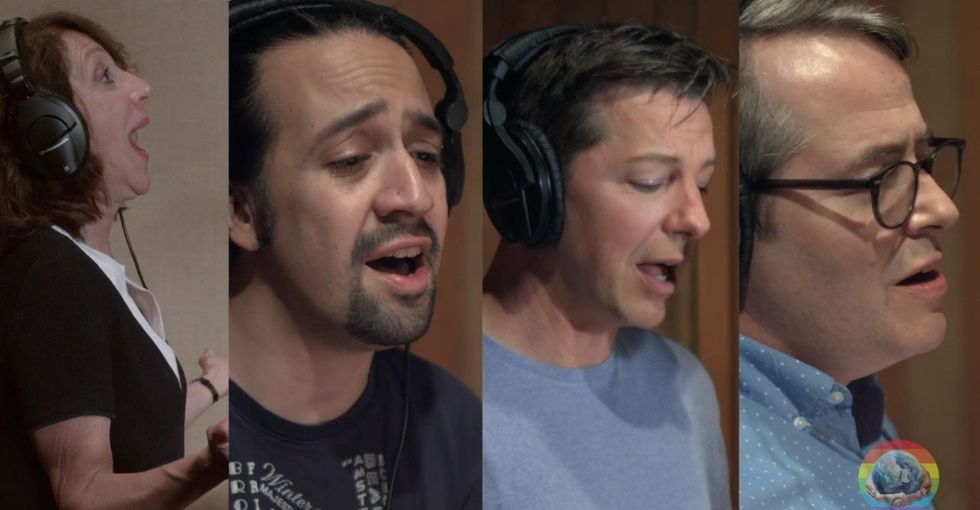 Watch Broadway stars record a song for the victims of the Orlando shooting.
