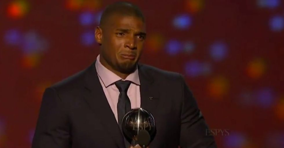 Michael Sam, the first openly gay NFL player, gave an acceptance speech that everyone should watch.