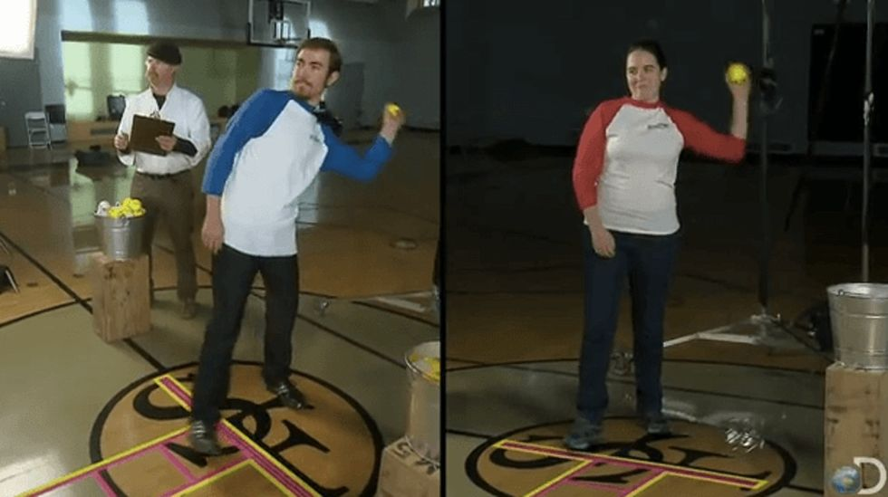 'You throw like a girl!' 'MythBusters' puts the classic insult to the test.
