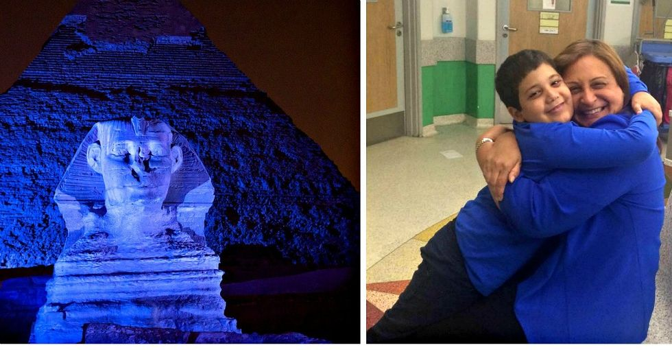 Every April, Egypt's great monuments turn blue. This woman's hard work is why.