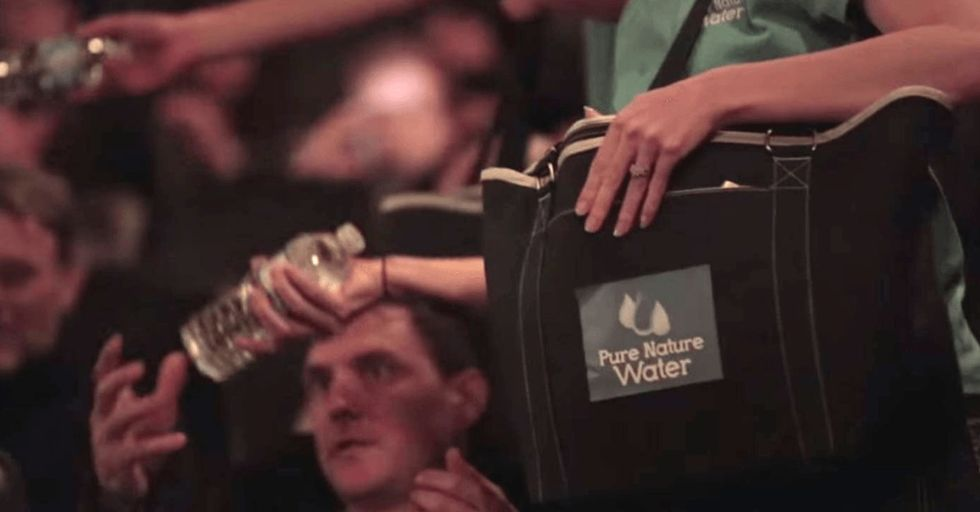 A movie theater handed out free water that was impossible to open. Why?