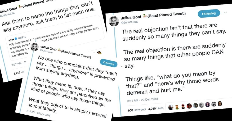 This viral thread on what people can and can't say due to 'political correctness' is gold.