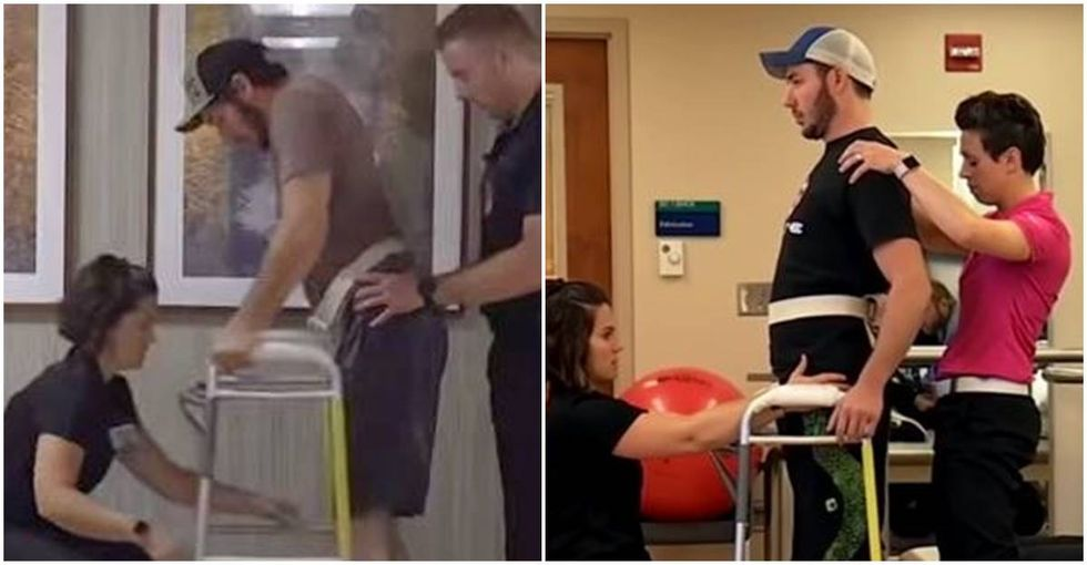 A young paralyzed man just walked again after having an electrode implanted in his back.