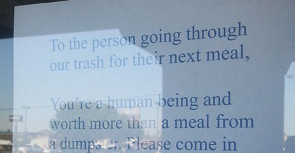 A restaurant owner left the most heartwarming note for the person who was digging through her trash.