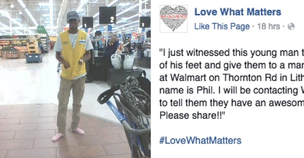 The sweet reason a Walmart manager found this worker shoeless, wearing pink socks.