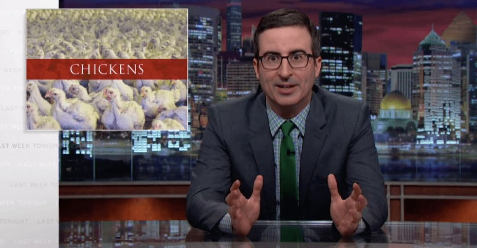 John Oliver gives an eye-opening look at one of the lesser known ways chicken farming is messed up.