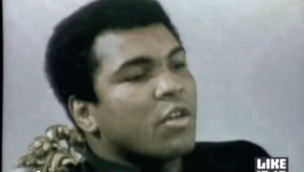 Muhammad Ali's brilliant response to being drafted in 1967 is worth repeating. Over and over.