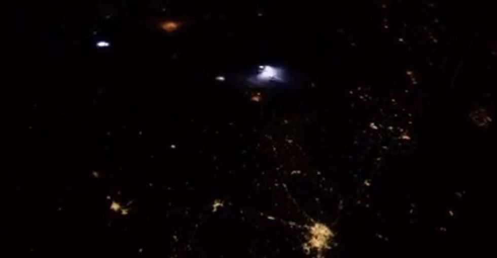 This incredible video is only 6 seconds long and captures a mega lightning storm from space.
