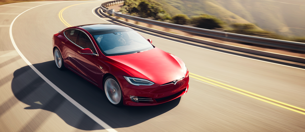 Photo of a red Tesla Model S