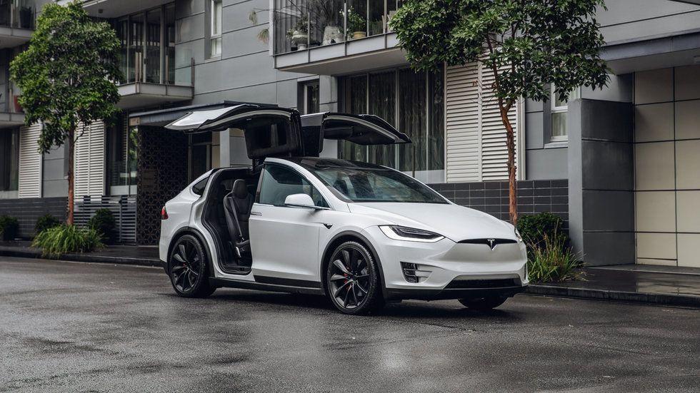 Photo of a white Tesla Model X