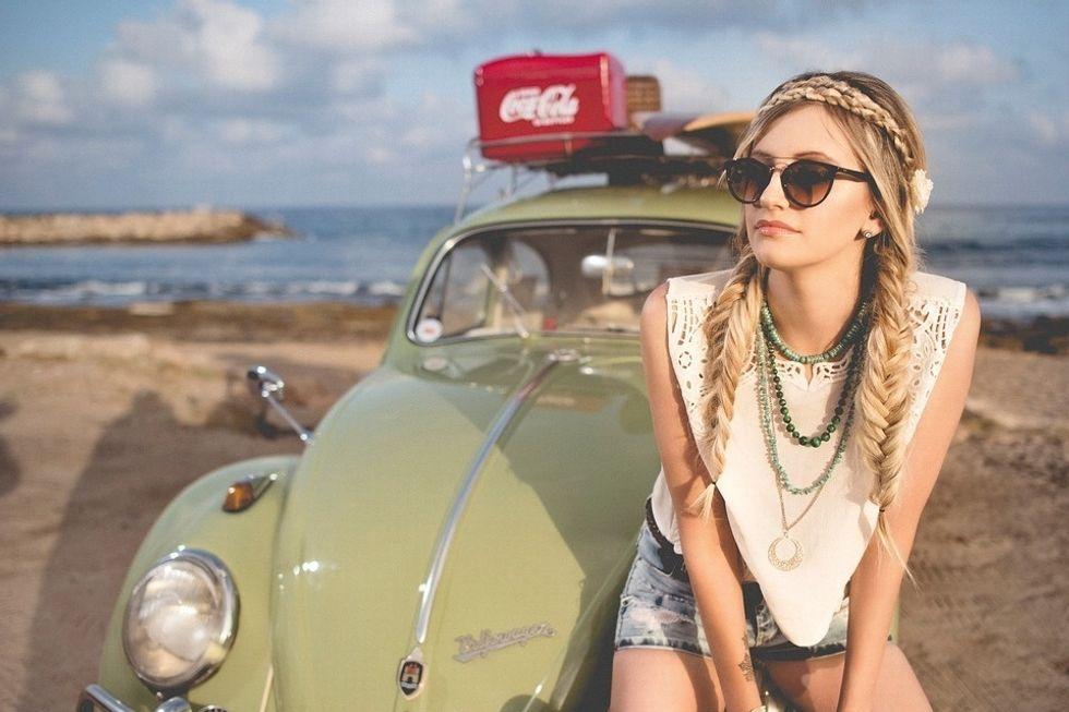 girl volkswagen bug summer beach