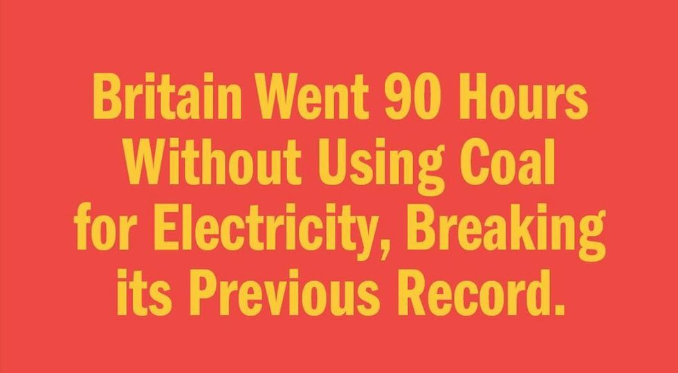 Britain went 90 hours without using coal for electricity, breaking its previous record.
