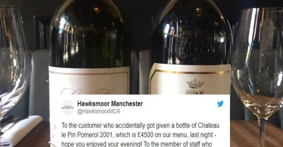 A server accidentally served a $5,750 bottle of wine and her manager told the world about it on Twitter.
