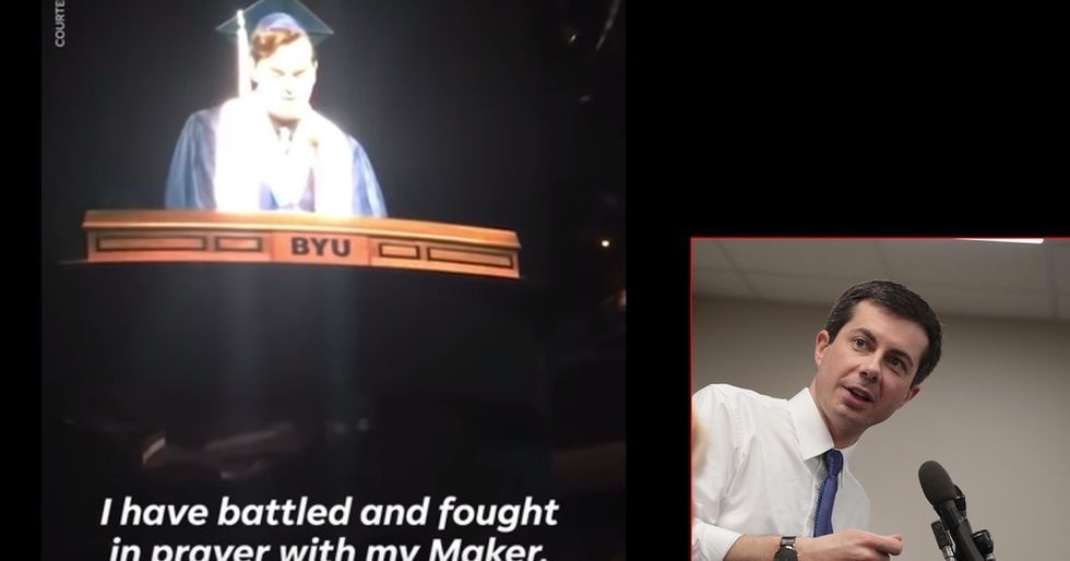 BYU's valedictorian gave a powerful speech on being gay and religious. Mayor Pete just responded.