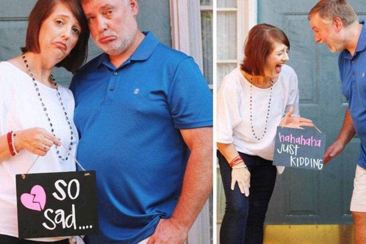 This empty nesters' hilarious viral photo shoot has parents everywhere in stitches.