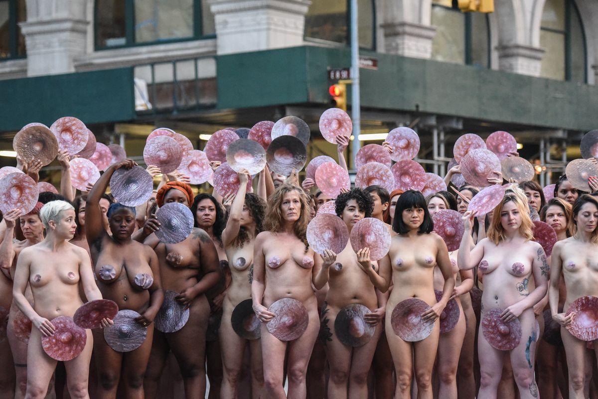 Nude Protestors Swarmed Facebook and Instagram's HQs