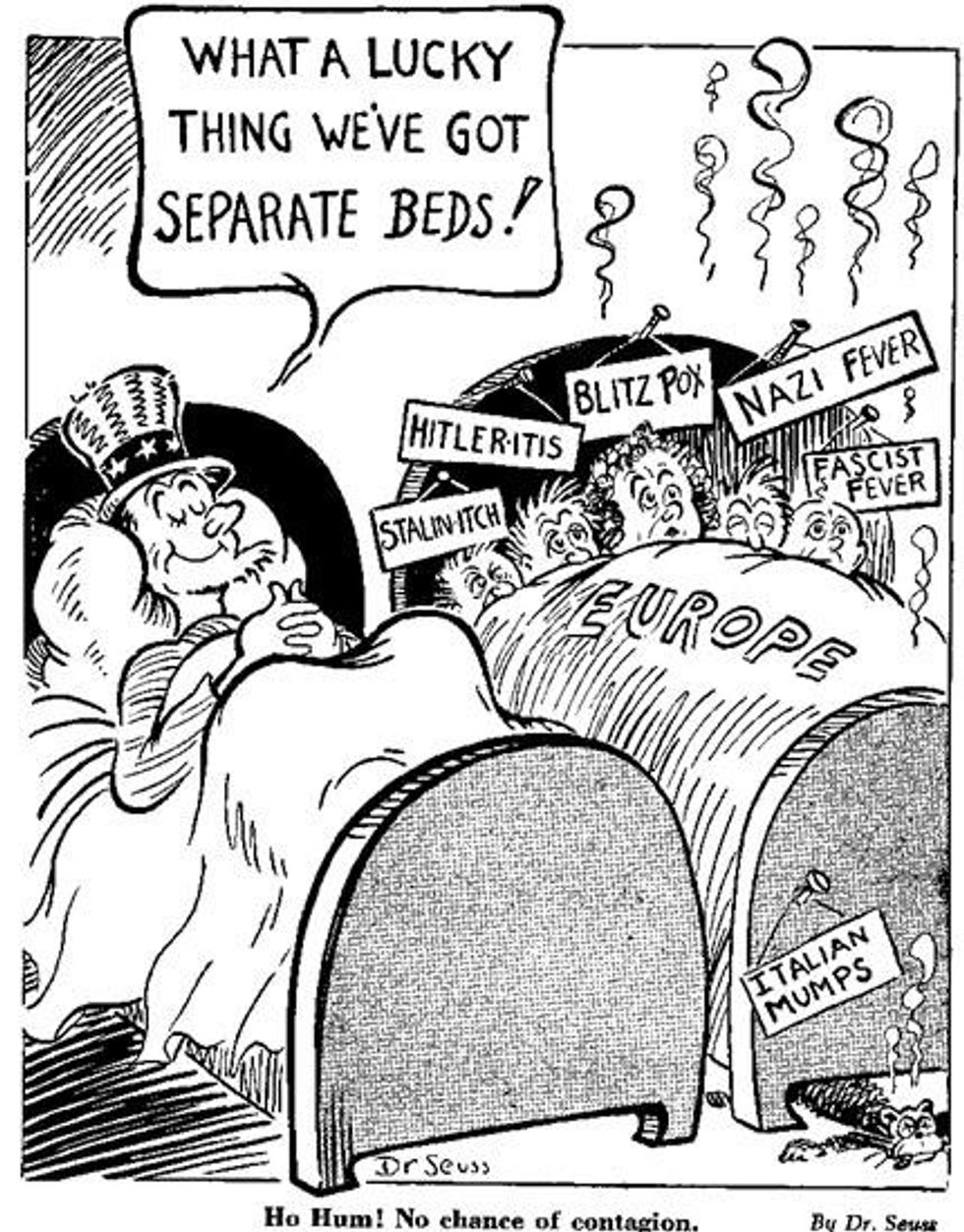 """Before he was famous, Dr. Seuss used his cartoon skills to skewer """"America First"""" fascists. - Upworthy"""