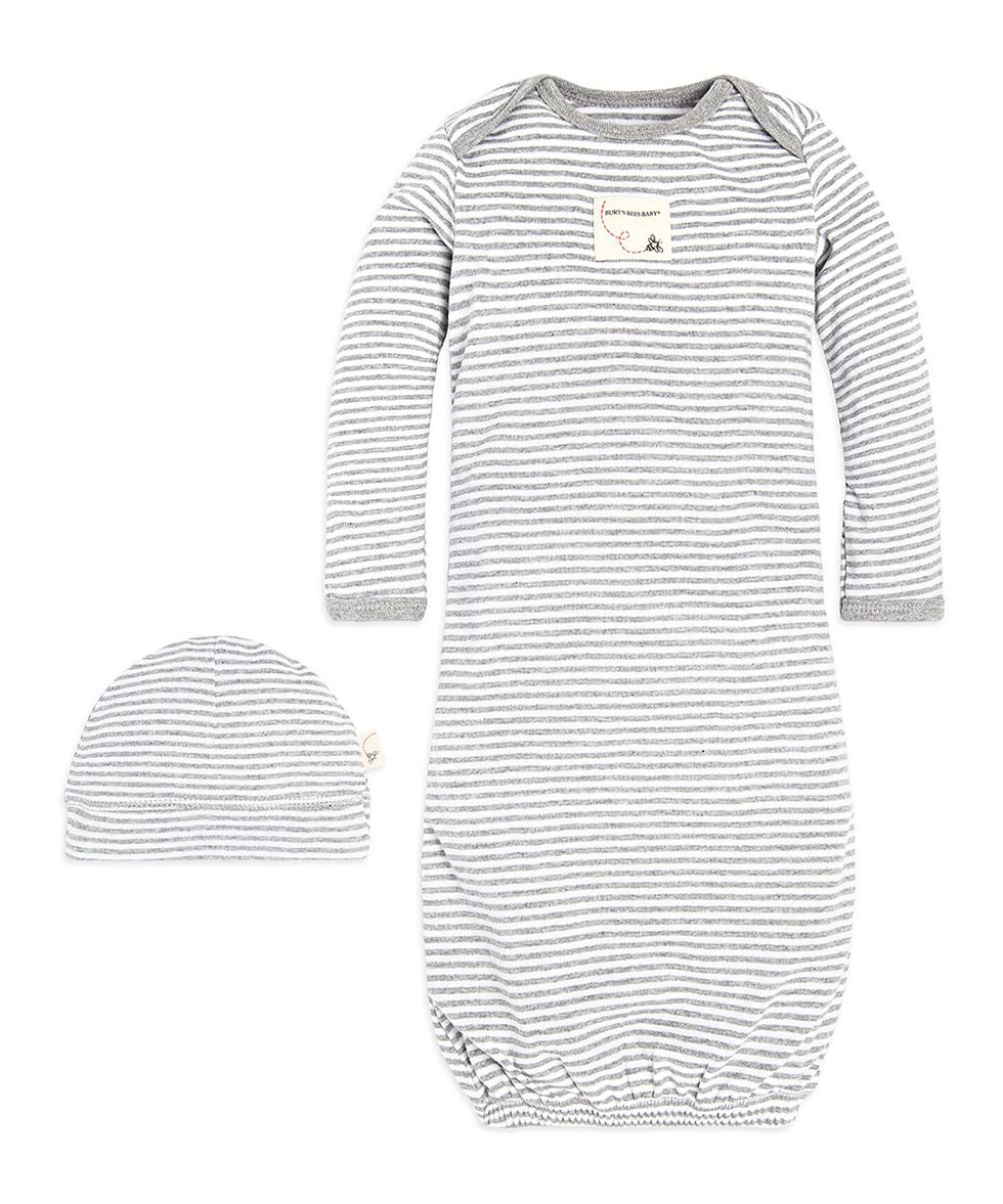 burts bees baby gown and cap